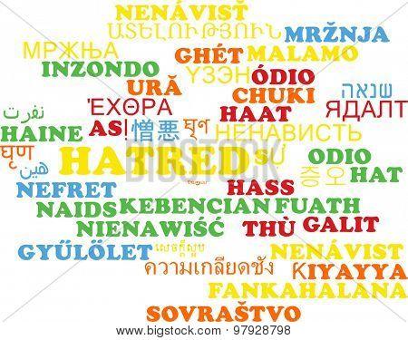 Background concept wordcloud multilanguage international many language illustration of hatred