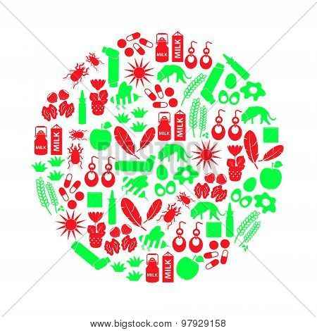 Allergy And Allergens Red And Green Icons Set Eps10