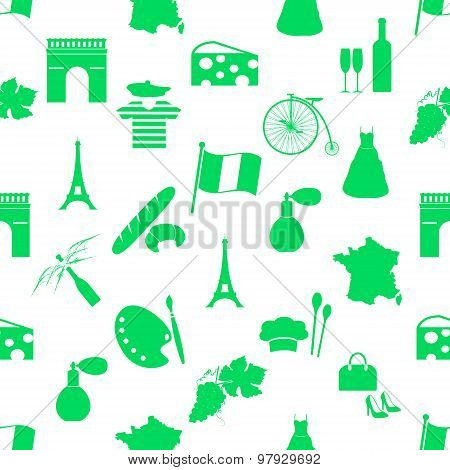 France Country Theme Symbols And Icons Green Seamless Pattern Eps10