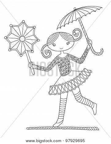 pretty girl acrobat walking a tightrope