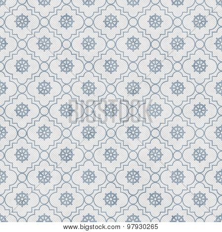 Pale Blue And White Wheel Of Dharma Symbol Tile Pattern Repeat Background