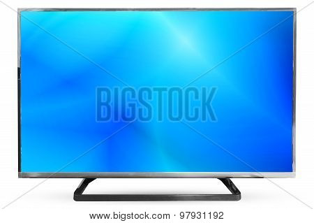 Television Sky Or Monitor Landscape Isolated On White Background : Clipping Path Frame Television