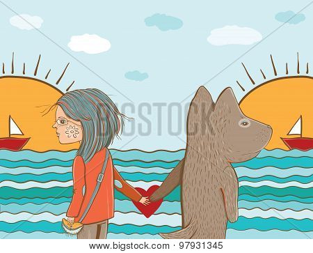 Vector Illustration Of Friendship Between Girl And Dog