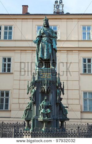 Charles Iv Statue  By The St. Francis Seraphicus Church  Prague, Czech Republic