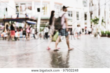 Blurred People In Shopping Center