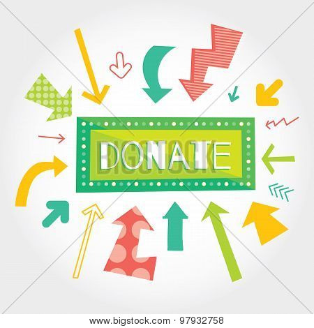 Donate green button with colorful arrows pointing on it. White background.