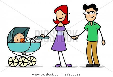 Happy family with mother and father and a baby in a stroller