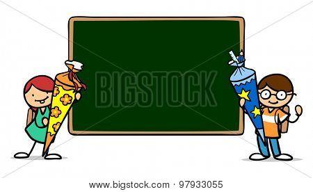 Two school kids with school cones next to an empty blackboard