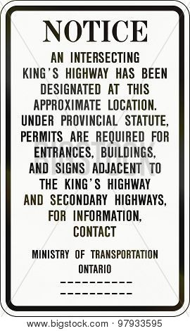 Road Notice In Canada