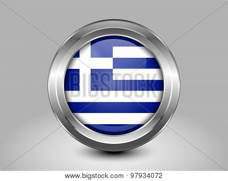 Flag Of Greece. Metal Round Icon