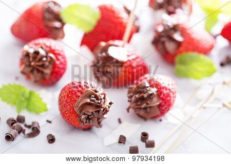 Fresh strawberries filled with chocolate mousse