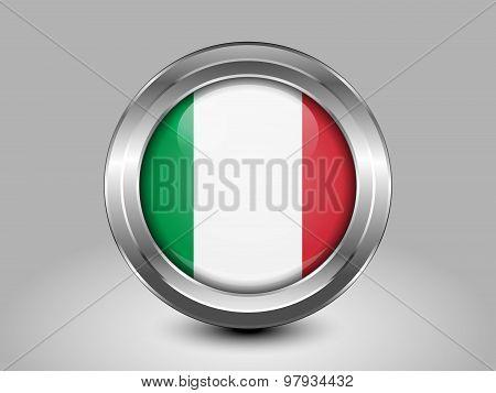 Flag Of Italy. Metal Round Icon