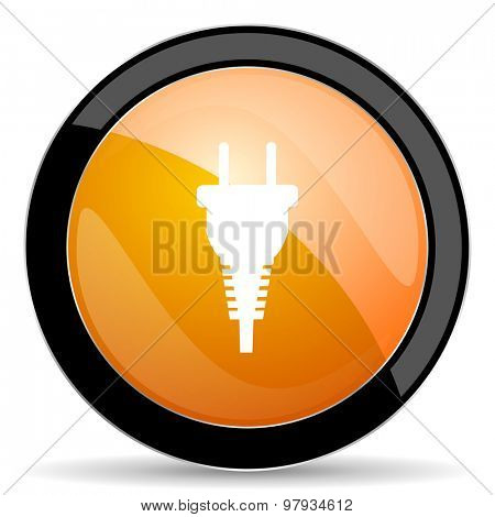 plug orange icon electric plug sign