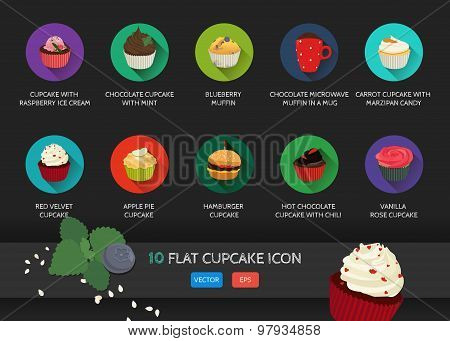 Flat cupcake icon. Vector application food set.