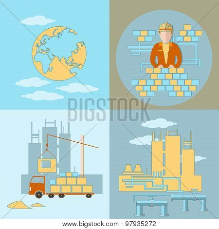 Design And Construction, Industry, Building Site, Work, Crane, Truck, Panel Houses