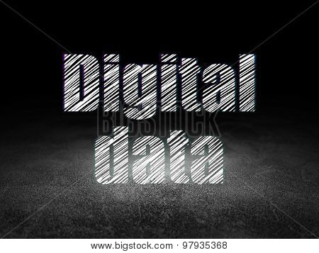 Information concept: Digital Data in grunge dark room