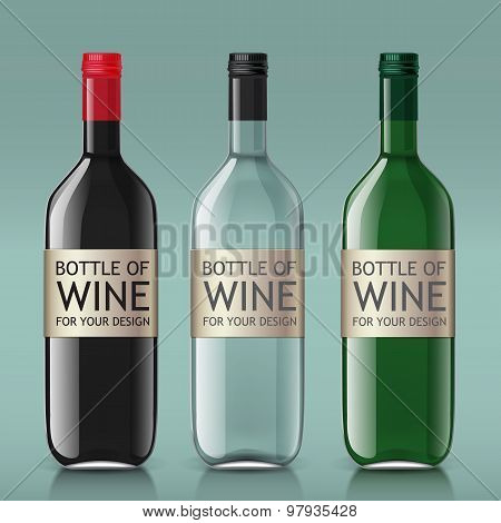 Realistic of glass bottles for wine