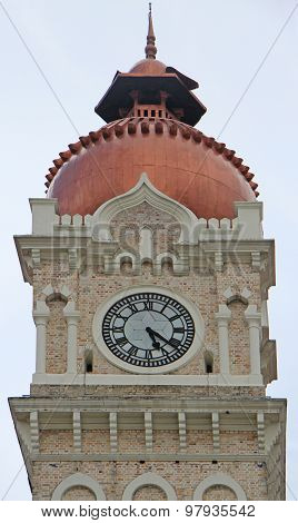 close-up of the clock atop Sultan Abdul Samad Building