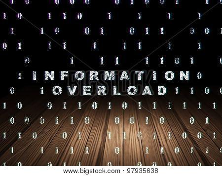 Information concept: Information Overload in grunge dark room