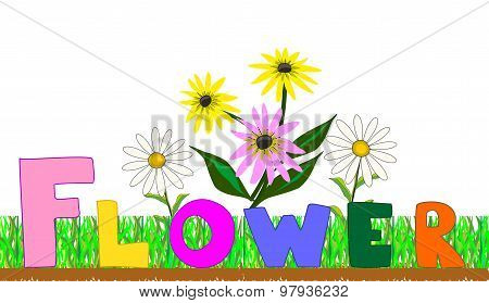 Flowers on a bed vector illustration