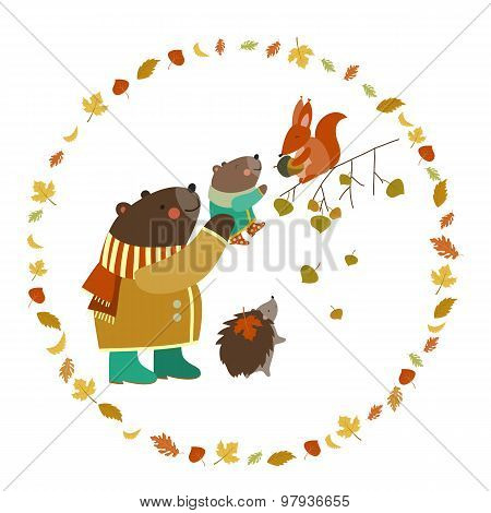 Bear, bear cub, squirrel and hedgehog walking in the autumn forest