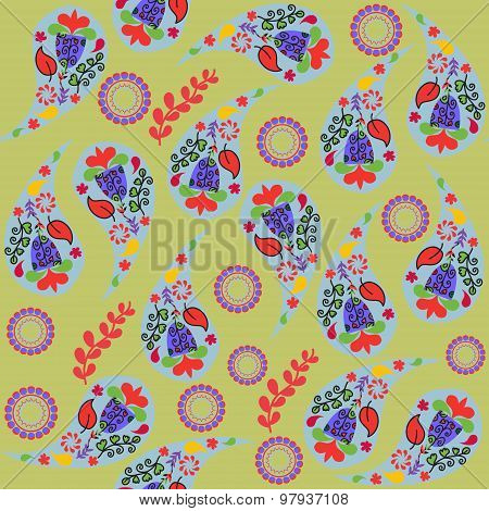 Colorful Paisley Seamless Pattern And Seamless Pattern In Swatch Menu, Vector Illustration
