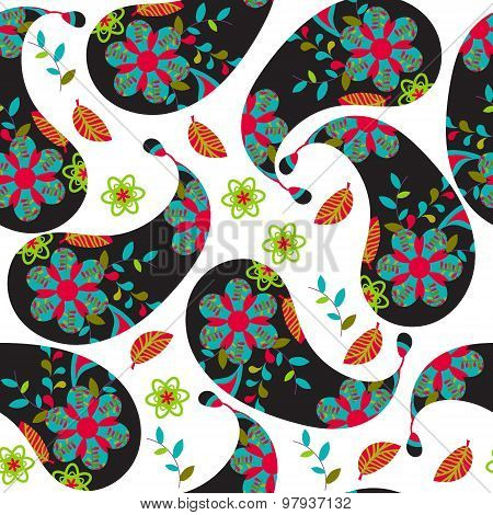 Colorful Dark Paisley Seamless Pattern And Seamless Pattern In Swatch Menu, Vector Illustration. Cut