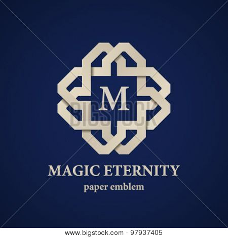 vector abstract magic eternity paper letter emblem