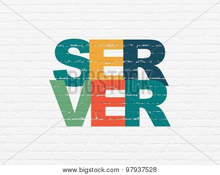 Web development concept: Server on wall background