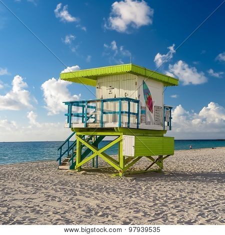 Colorful Lifeguard Tower In South Beach, Miami Beach