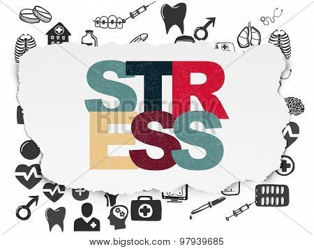 Health concept: Stress on Torn Paper background