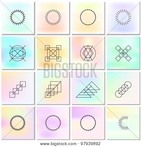 Abstract Backgrounds With Shapes Outlines. Simple Graphic Geometric Elements Collection