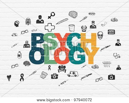 Health concept: Psychology on wall background