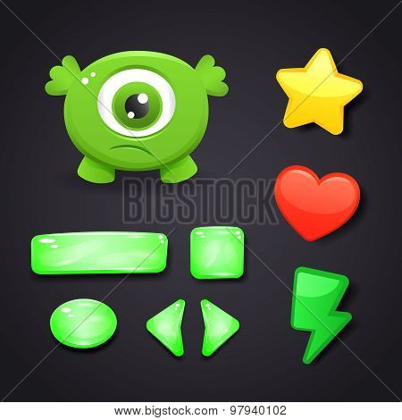 Interface Icons Set For Game Design With Resources And Monster