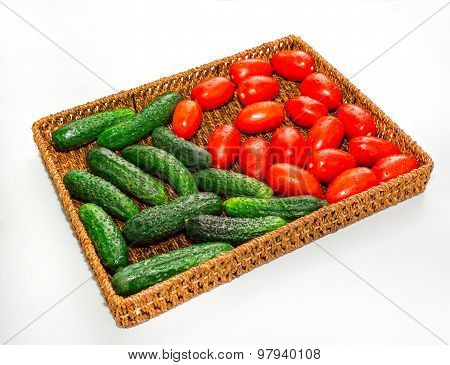 Tray Of Wicker With Vegetables.