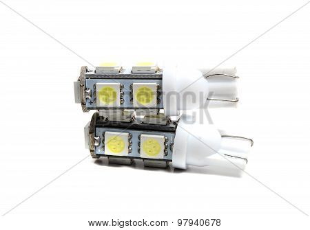 Small Led Bulbs On A White Background