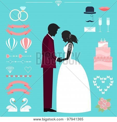 Wedding Collection With Bride, Groom Silhouette And Romantic Decorative Elements