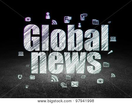News concept: Global News in grunge dark room