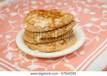 Whole Grain Coconut Pancakes With Maple Syrup