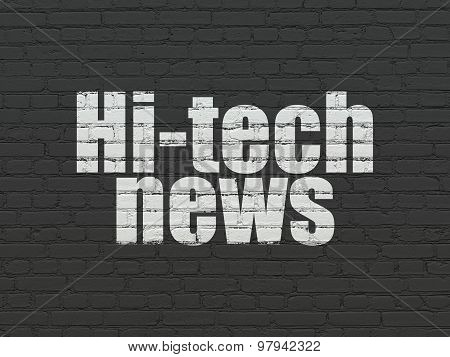 News concept: Hi-tech News on wall background