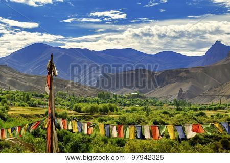 Buddist Religious Flags,  Mulbekh, Himalayan Mountains ,ladakh, Jammu And Kashmir, India