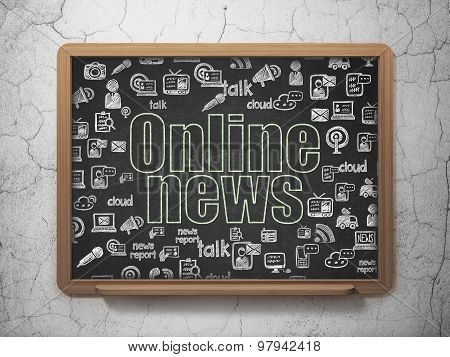 News concept: Online News on School Board background