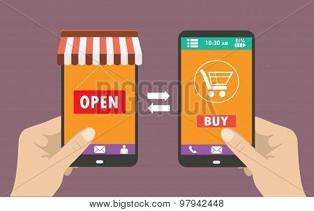 Shopping On The Phone, Flat Design