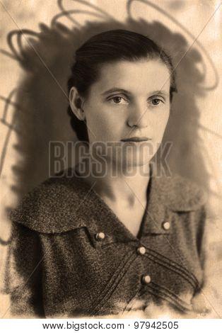 Vintage Portrait Russian Girl