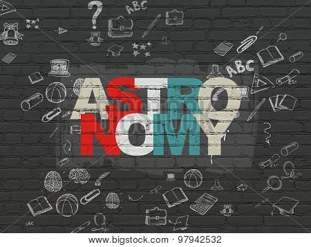 Studying concept: Astronomy on wall background