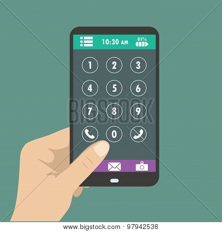 Hand Holding Smart Phone, Dial Buttons On The Screen.