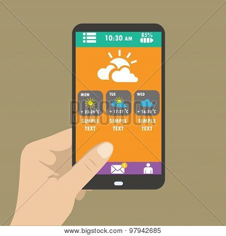 Hand Holding Smart Phone, Weather Icons For Web And Mobile