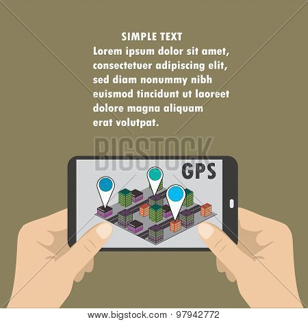 Mobile Navigation Gps With Map Pointers