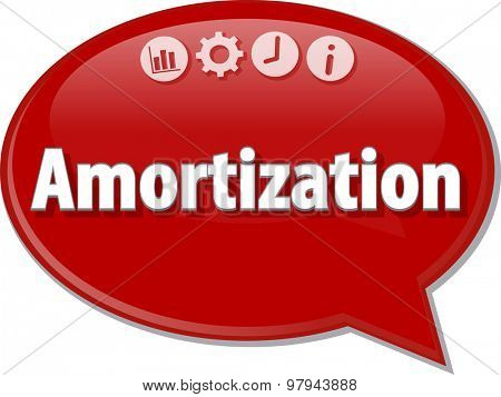 Speech bubble dialog illustration of business term saying Amortization