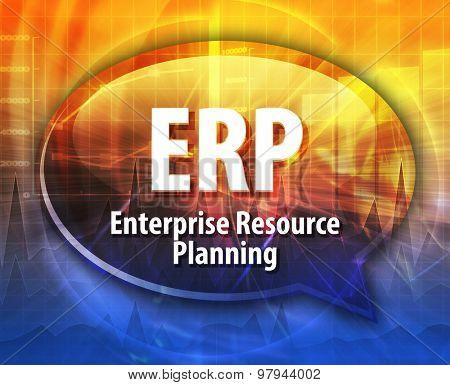Speech bubble illustration of information technology acronym abbreviation term definition ERP Enterprise Resource Planning